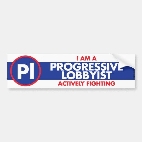 Progressive lobbyist bumper sticker blue band
