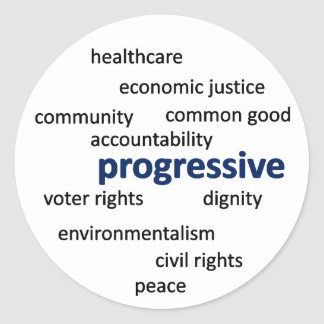 Progressive philosophy and values classic round sticker