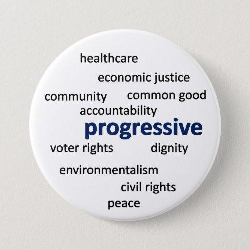 Progressive philosophy and values pinback button