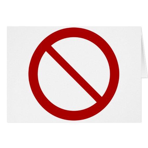 Prohíba o prohíba el símbolo tarjeta de felicitación