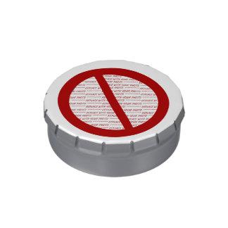 Prohíba o símbolo de la prohibición - añada la ima latas de dulces