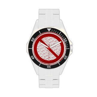 Prohíba o símbolo de la prohibición - añada la relojes de pulsera