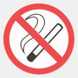 prohibición 6 de no fumadores pegatinas redondas