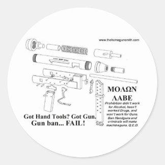 Prohibición del arma… ¡FALL! Pegatina Redonda