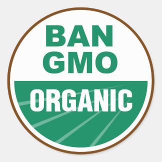 Prohibición GMO orgánico Pegatinas Redondas