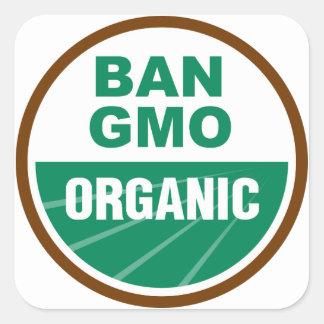 Prohibición GMO orgánico Pegatina Cuadradas Personalizadas