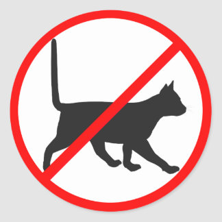 ¡Prohibido estrictamente para los gatos! Pegatina Redonda