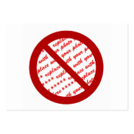 Prohibit or Ban Symbol - Add Image Business Cards
