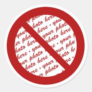 Prohibit or Ban Symbol - Add Image Classic Round Sticker