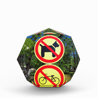 Prohibiting signs no-dogs and no-bikes in the park award
