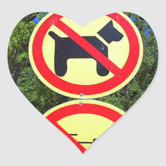 Prohibiting signs no-dogs and no-bikes in the park heart sticker