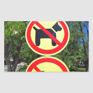 Prohibiting signs no-dogs and no-bikes in the park rectangular sticker