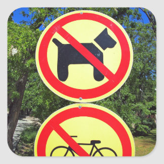 Prohibiting signs no-dogs and no-bikes in the park square sticker