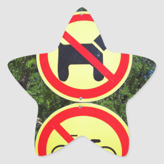 Prohibiting signs no-dogs and no-bikes in the park star sticker