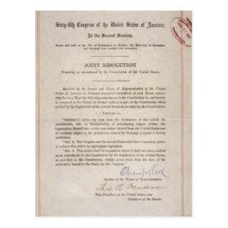 Prohibition 18th Amendment Postcard