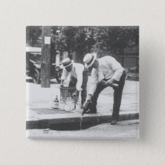 Prohibition Pouring Whiskey into a Sewer Vintage Button