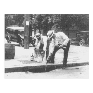 Prohibition Pouring Whiskey into a Sewer Vintage Postcard