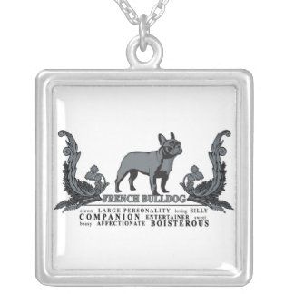 Projeckt Dog French Bulldog Traits Square Pendant Necklace