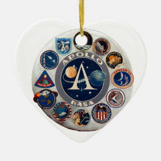 Project Apollo: The Composite Logo Double-Sided Heart Ceramic Christmas Ornament