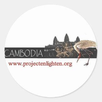 Project Enlighten Cambodia Sarus Crane Classic Round Sticker