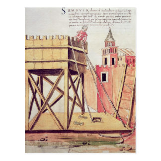 Project for a siege tower post card