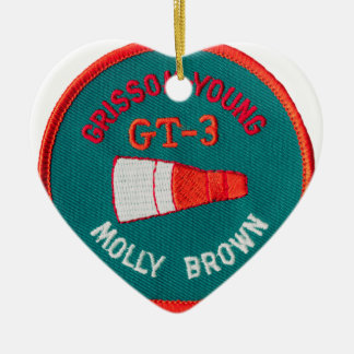 Project Gemini:  GT 3: Grissom / Young Double-Sided Heart Ceramic Christmas Ornament