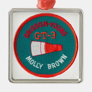 Project Gemini:  GT 3: Grissom / Young Square Metal Christmas Ornament