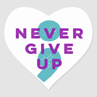 Project Semicolon Never Give Up Suicide Prevention Heart Sticker