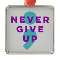 Project Semicolon Never Give Up Suicide Prevention Metal Ornament