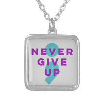 Project Semicolon Never Give Up Suicide Prevention Silver Plated Necklace