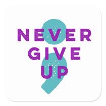 Project Semicolon Never Give Up Suicide Prevention Square Sticker