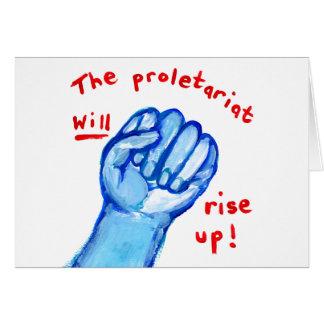 Proletariat WILL rise up folk art fist uprising Greeting Card