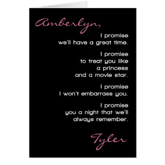 Prom Date Promises Promposal Add Your Names Card