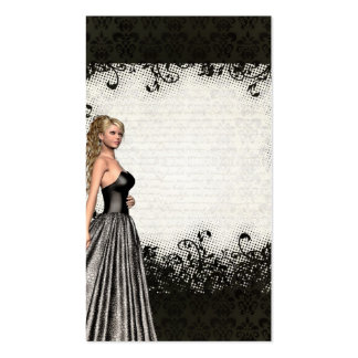 Prom girl in a black dress business card template