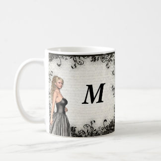 Prom girl in a black dress coffee mug
