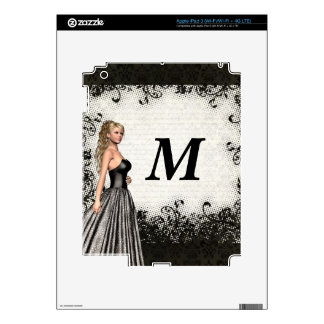 Prom girl in a black dress iPad 3 decals