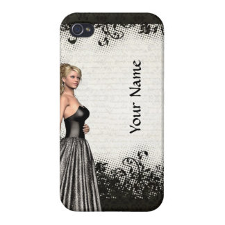 Prom girl in a black dress iPhone 4/4S case