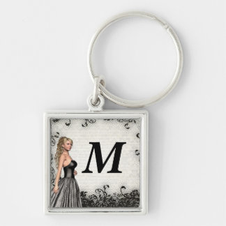 Prom girl in a black dress keychain