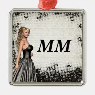 Prom girl in a black dress metal ornament