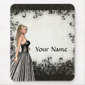 Prom girl in a black dress mouse pad