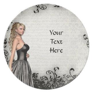 Prom girl in a black dress plate