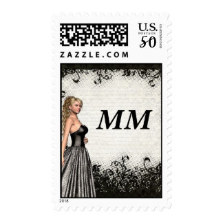 Prom girl in a black dress postage