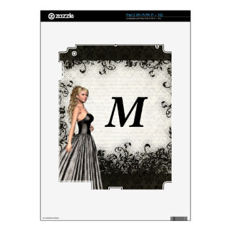 Prom girl in a black dress skins for the iPad 2