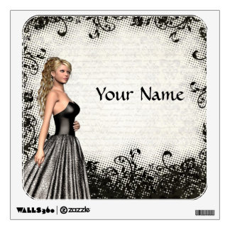Prom girl in a black dress wall decal