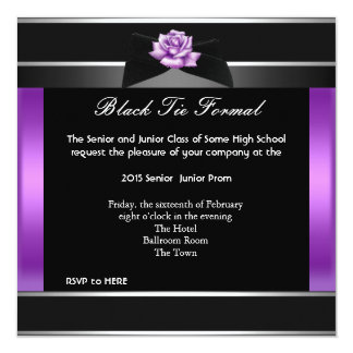 Prom High School Dance Formal Purple Black Tie Personalized Announcement