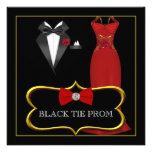 Prom High School Dance Formal Red Black Tie Invites