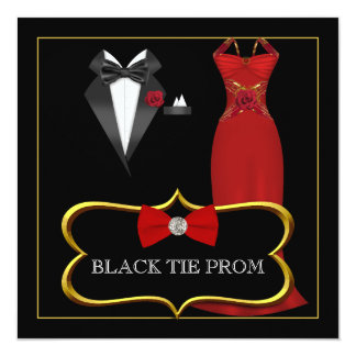 Prom High School Dance Formal Red Black Tie Invites
