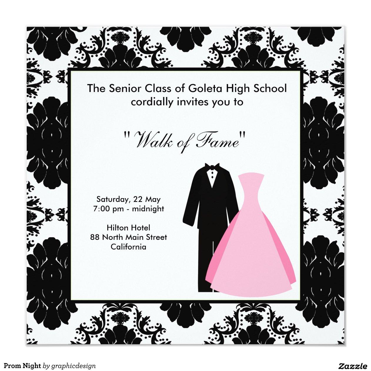 Prom Night 5.25x5.25 Square Paper Invitation Card | Zazzle