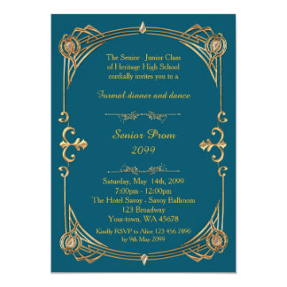Prom senior, blue green & gold, Gatsby style Card