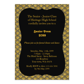Prom senior, Gatsby style, black & gold,back black Card